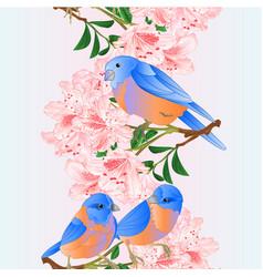 Vertical seamless background border small birds vector
