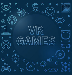 vr games blue linear frame - virtual vector image