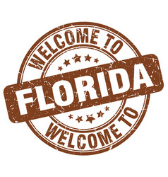 Welcome to florida brown round vintage stamp vector