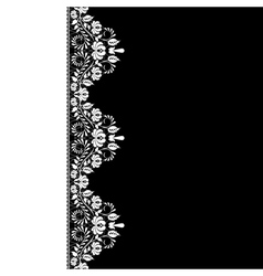White lace border on black background vector