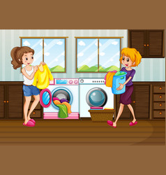 woman laundry in room vector image
