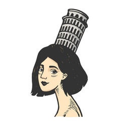 woman with tower pisa color sketch engraving vector image