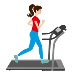 Young woman runs on a treadmill Sports trainer vector