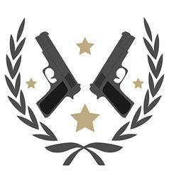 2 pistols and stars in laurel wreath emblem vector