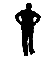 Black silhouette man with hands on his hips vector image vector image