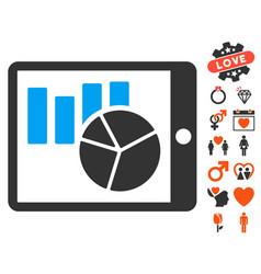 Charts on pda icon with dating bonus vector