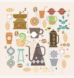 coffee concept with mix graphic and variety vector image