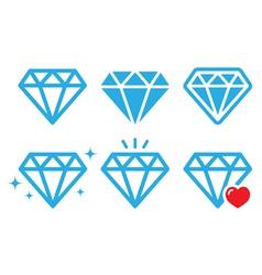 Diamond luxury icons set vector