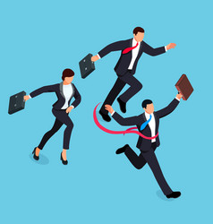 running businessmen isolated on blue background vector image vector image