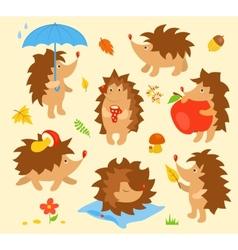 Set of simple cute hedgehogs vector image vector image