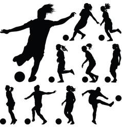 soccer women silhouette girl player vector image