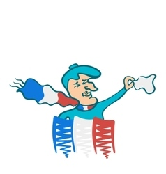 The Frenchman in the French scarf waving a scarf vector image