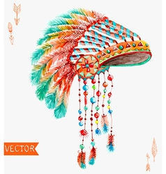 Tribal indian hat watercolor background vector image vector image