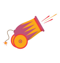 cartoon cannon on the white vector image
