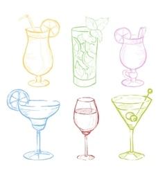 Drinks Doodle Set Handdrawn vector image vector image