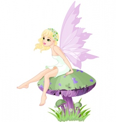 fairy on the mushroom vector image
