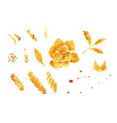 Golden Rose hand-drawn flower vector image