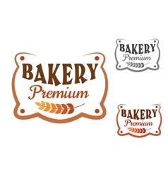 Premium bakery retro signboard with wheat vector image