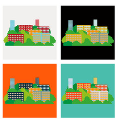 set of smart city with contemporary buildings vector image vector image