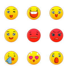 smiley faces icons set flat style vector image vector image