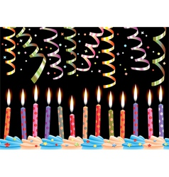 birthday candles and streamers vector image