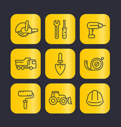 construction tools line icons set trowel wrench vector image