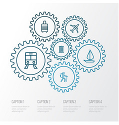 exploration outline icons set collection of tram vector image