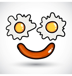 Fried egg Doodle style vector image