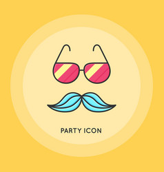 glasses and mustache thin line vector image