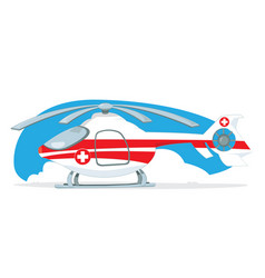 medical helicopter turned off and parked on light vector image vector image