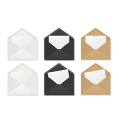 Blank paper envelopes with sheets vector