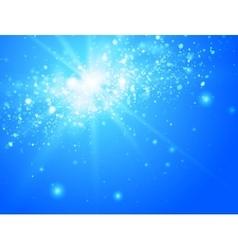 Blue sky and sun with light bokeh vector