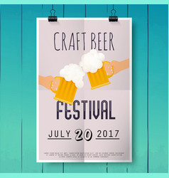craft beer festival two hands holding beer glass vector image vector image