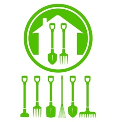 garden green icon with tools vector image vector image