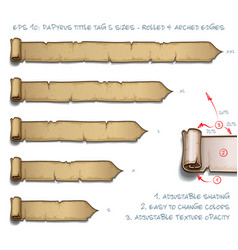 papyrus tittle tag five sizes - rolled and arched vector image vector image