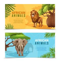 Safari animals horizontal banners vector