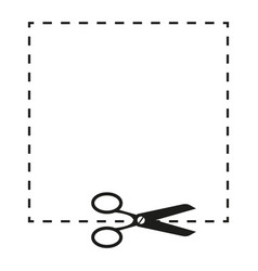 scissors and dashed line sign vector image