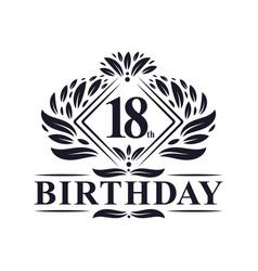 18 years birthday logo luxury 18th birthday vector