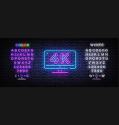 4k quality video neon sign monitor vector