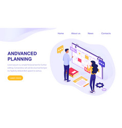 Advanced planning concept with wall chart vector