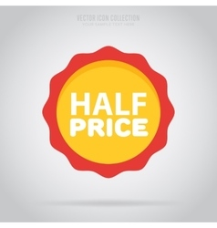 Advertisement half price sticker isolated vector