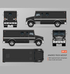 Black armored truck template vector