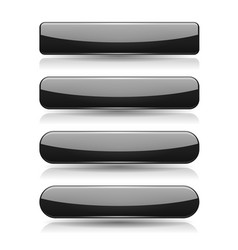 black buttons 3d glass menu icons vector image