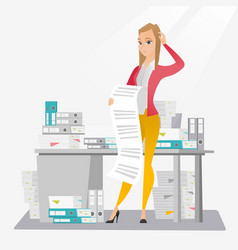 business woman holding long bill vector image