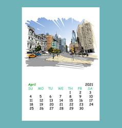 Calendar sheet april month 2021 yearphiladelphia vector