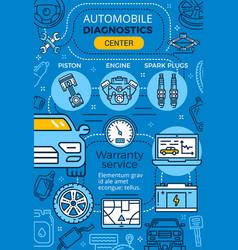 Car repair garage service linear poster vector