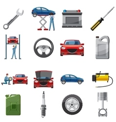 Car service icons set in cartoon style vector