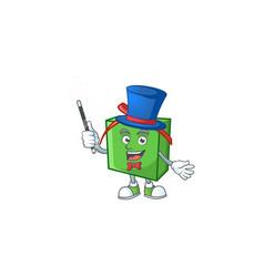 Cartoon character green gift box magician style vector