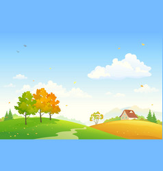 Cartoon rural fall landscape vector