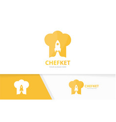 Chef hat and rocket logo combination vector